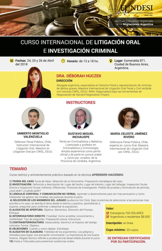 curso internacional de litigación oral e investigación criminal